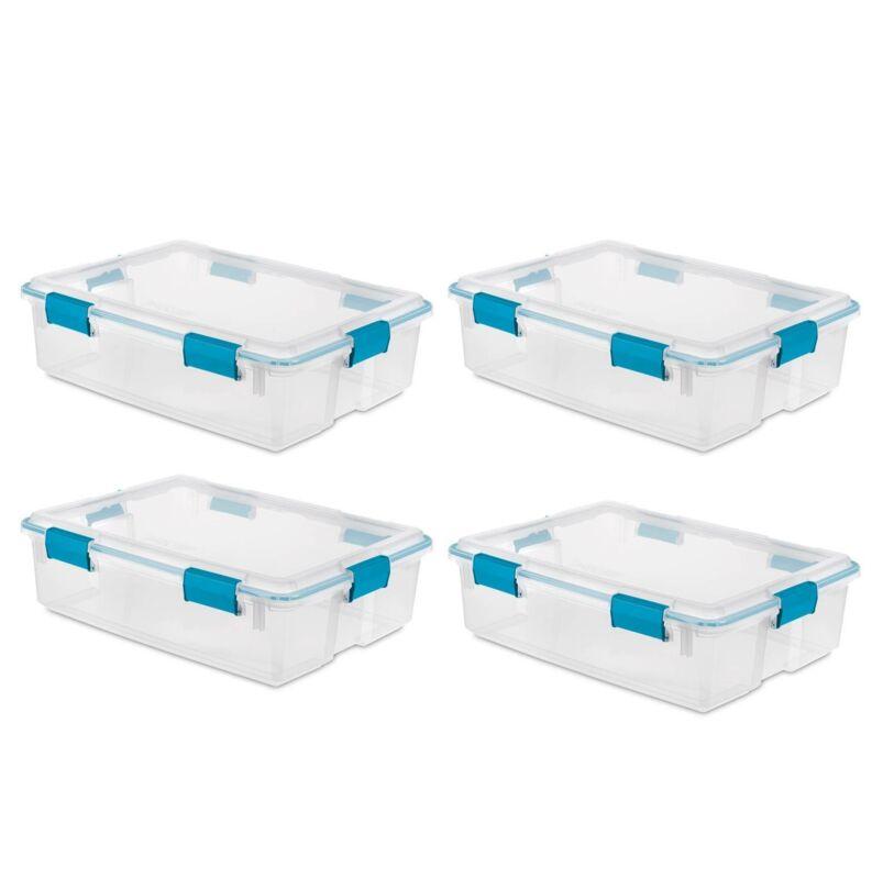 Sterilite 19314304 37 Quart Thin Latched Gasket Plastic Storage Bin ( 4 Pack)