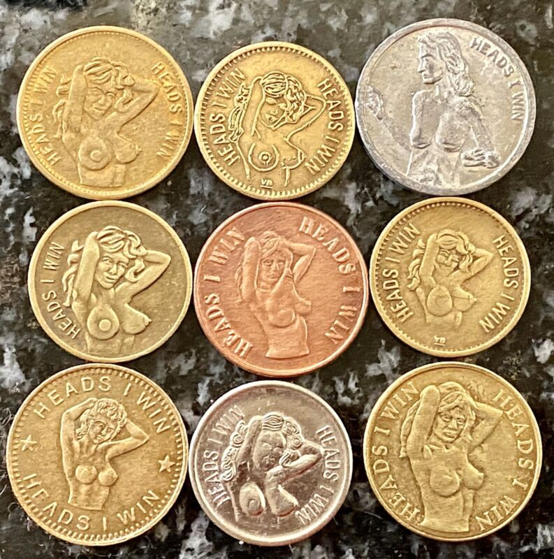 Lot Of 9 Nude Lady 'Heads I Win/Tails U Lose' Tokens ~Novelty Flip Coins