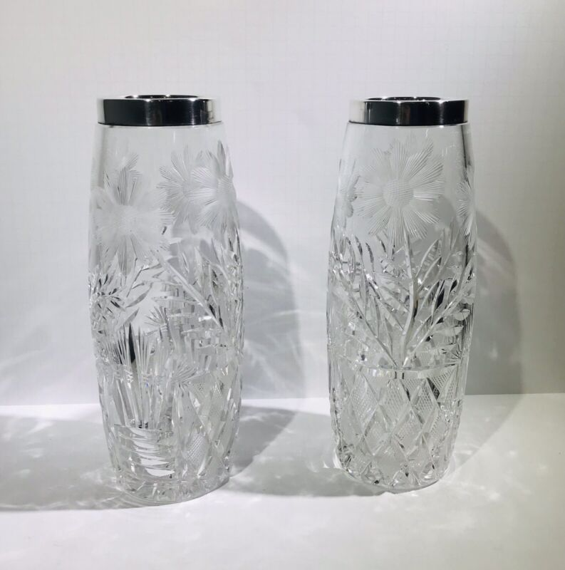 Antique Pair Crystal And Silver 19th Century Vases