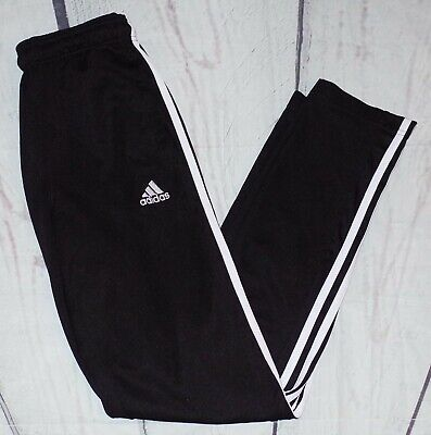 Adidas Black 3 Stripe Slim Fit Tracksuit Bottoms Trackies Joggers Size Small