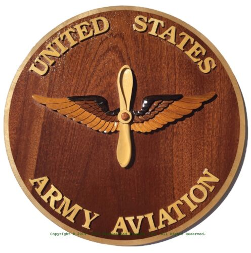 U.S. ARMY AVIATION EMBLEM - ARMY AVIATION BRANCH - HandCrafted Wood Art Plaque