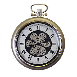 Metal Pocket Watch Style Skeleton Wall Clock with Moving Gears