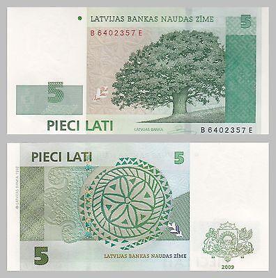 Lettland / Latvia 5 Lati 2009 p53c unz.
