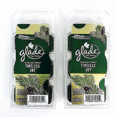 - 2X Sets Glade Timeless Joy Sparkling Spruce Scented Wax Melts - 12 Melts Total