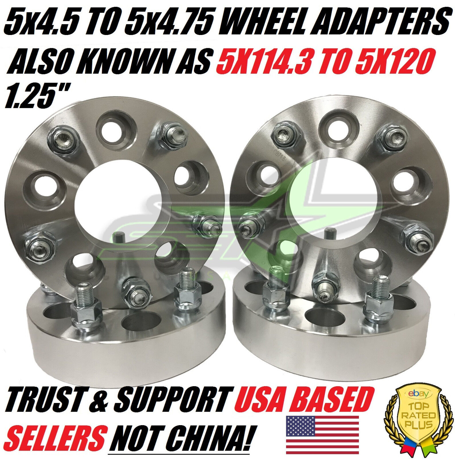 """4pc 5x114.3mm to 5x127mm Wheel Spacers Adapters 1.25/"""" for Mitsubishi 3000GT pg"""