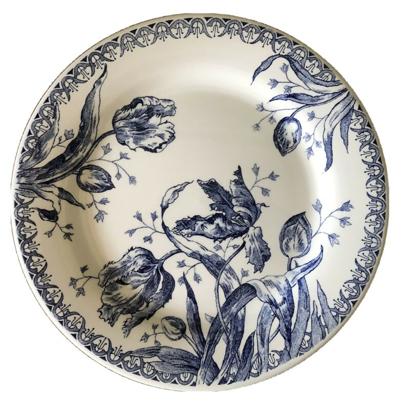 Faiencerie De GIEN Tulipes BLUE TULIP Dinner Plate FRANCE Garanti Lave-Vaisselle