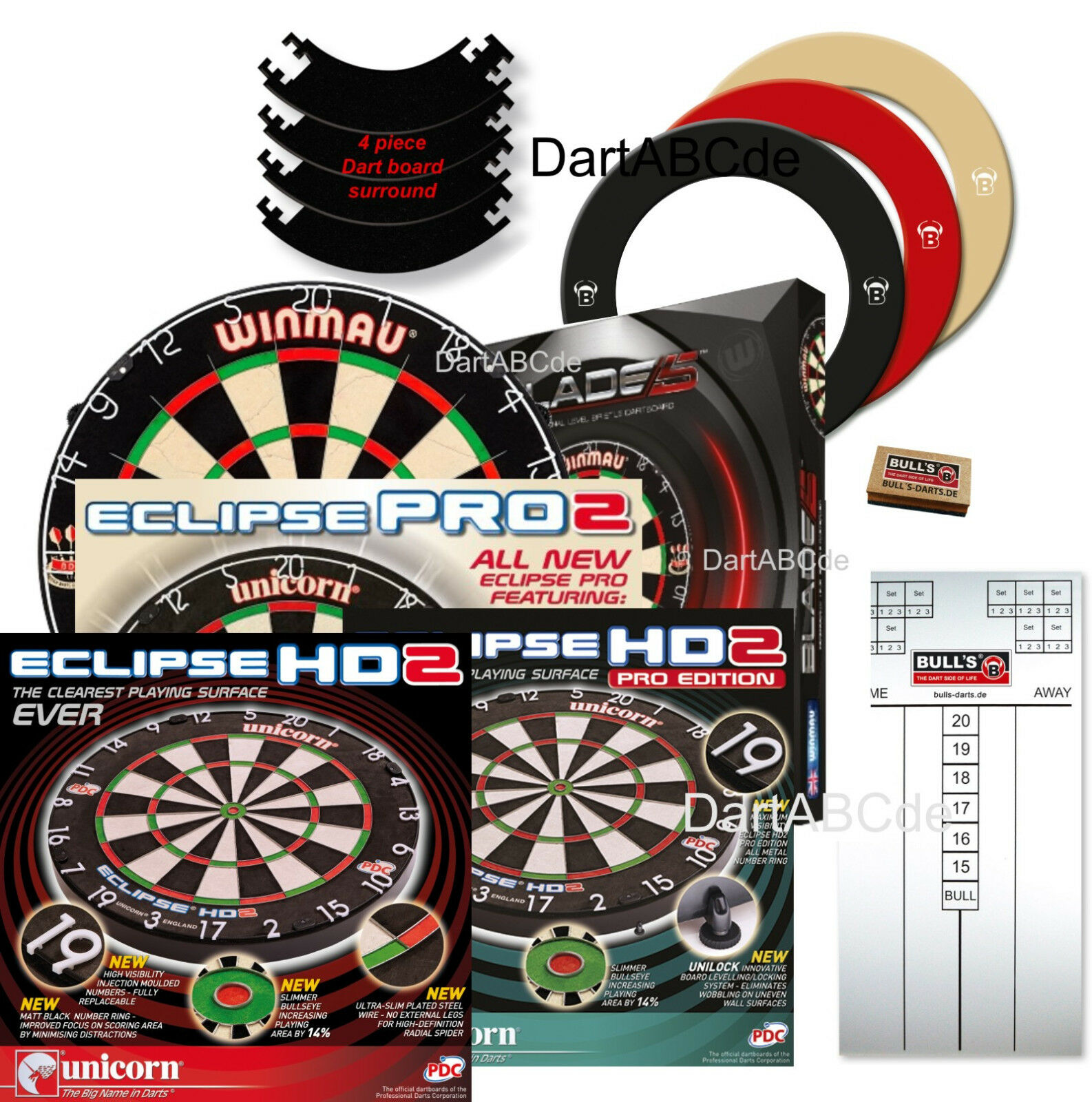 Unicorn Eclipse HD2, Pro, Blade 5 +Quarterback Dartboard Surround + Option Tafel