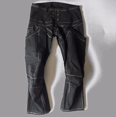CHRISTOPHER NEMETH Black Hand Drawn Cut And Sewn Articulated Knee Canvas Pants