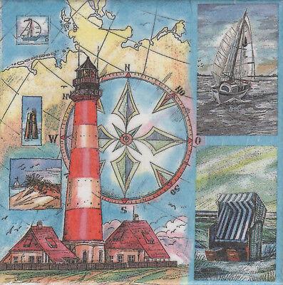 Dekobild Leuchtturm Strandkorb Segelboot  Dekofliese Mitbringsel Geschenkidee