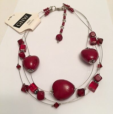 """GNW *NWT* Dark Red Maroon Bead Beaded 17"""" - 20 1/2"""" Light Wire Illusion Necklace"""