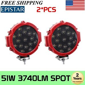 2X 7inch 51W Round Off Road Led Work Lights Jeep Truck Bumper Boat 4WD RED Slim