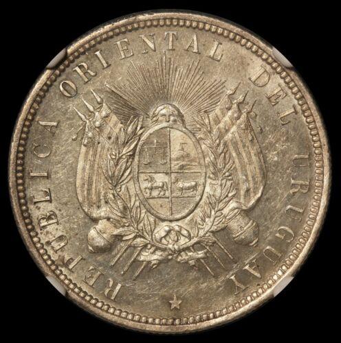 1877-A Uruguay 50 Centesimos Silver Coin - NGC MS 61 - KM# 16