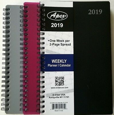 2019 Weeklymonthly Planner Calendar Spiral Bound - 5 In X 8 In Colors Vary