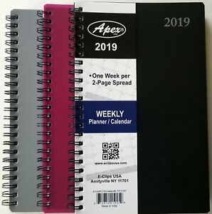2019 Weekly/Monthly Planner / Calendar, Spiral Bound - 5 in x 8 in colors vary