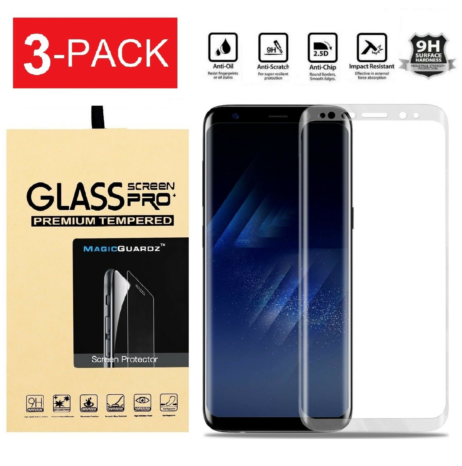 Купить Glass Screen Pro + - Samsung Galaxy S8  S8 Plus Note 8 4D Full Cover Tempered Glass Screen Protector