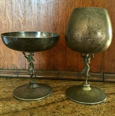 Unusual Antique Spanish Silver Goblets With Flamenco Dancer Stems
