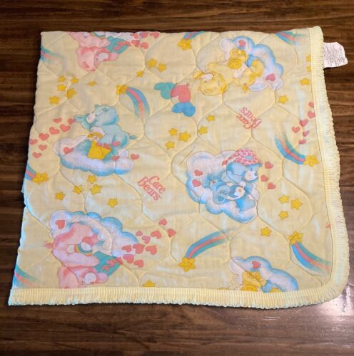 Vintage Care Bears Baby Quilt Blanket Yellow 1983 Pastels Lightweight Rainbows
