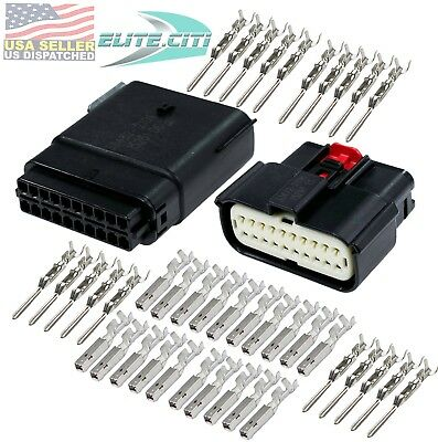 Molex 20 Pin Wire Connector, Harley BLACK Waterproof, Sealed Kit, MX150™ w/CPA
