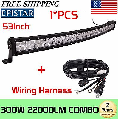 53 Inch 300W Curved LED Work Light Bar Flood Spot Offroad 4WD SUV UTE+Wiring kit