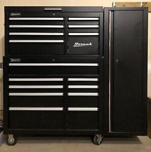 Homak 16 drawer tool chest and attached side cabinet