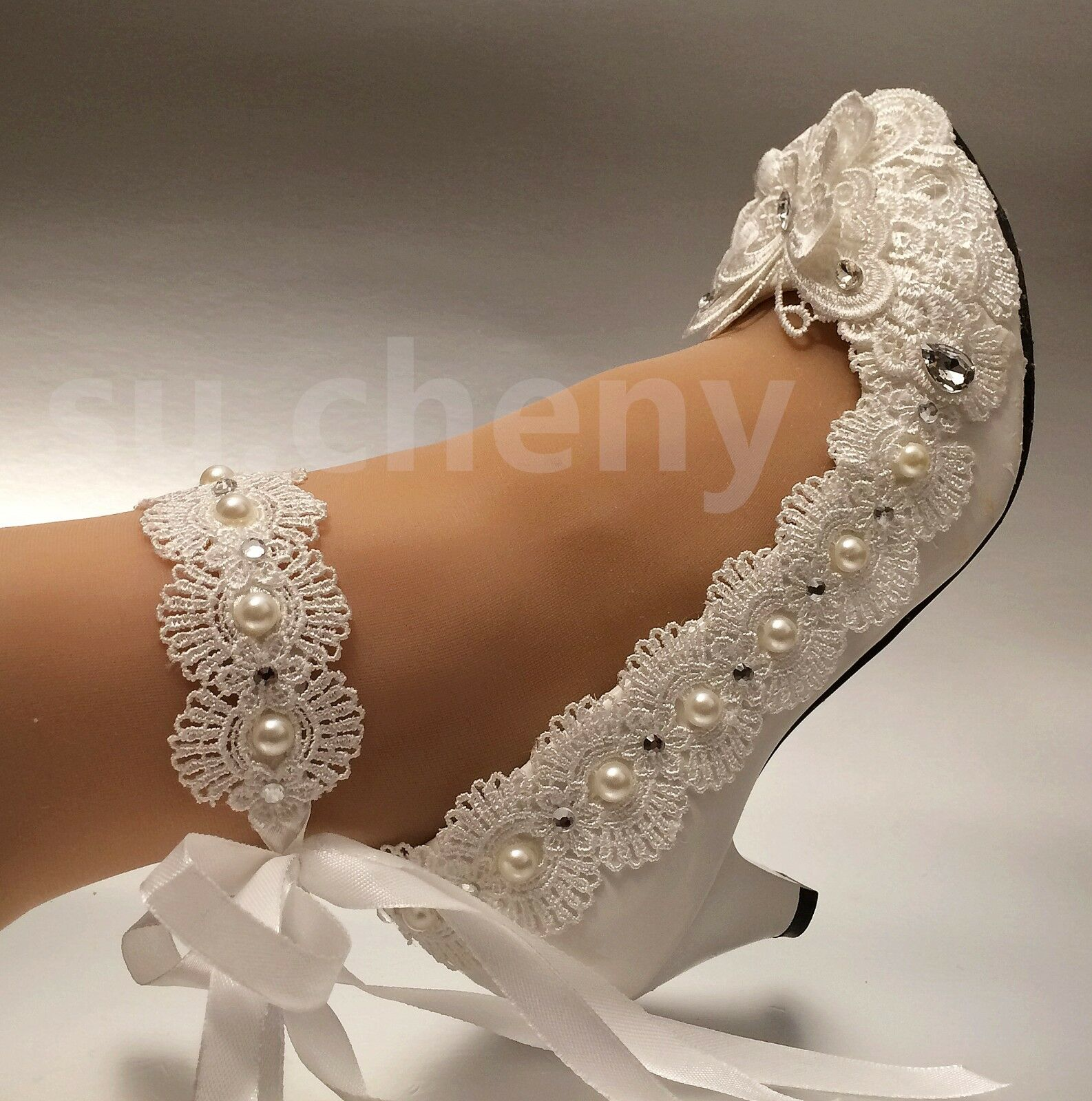 aa5fdb1913bd su.cheny White ivory heel lace bow crystal pearl Wedding shoes bride size 5-