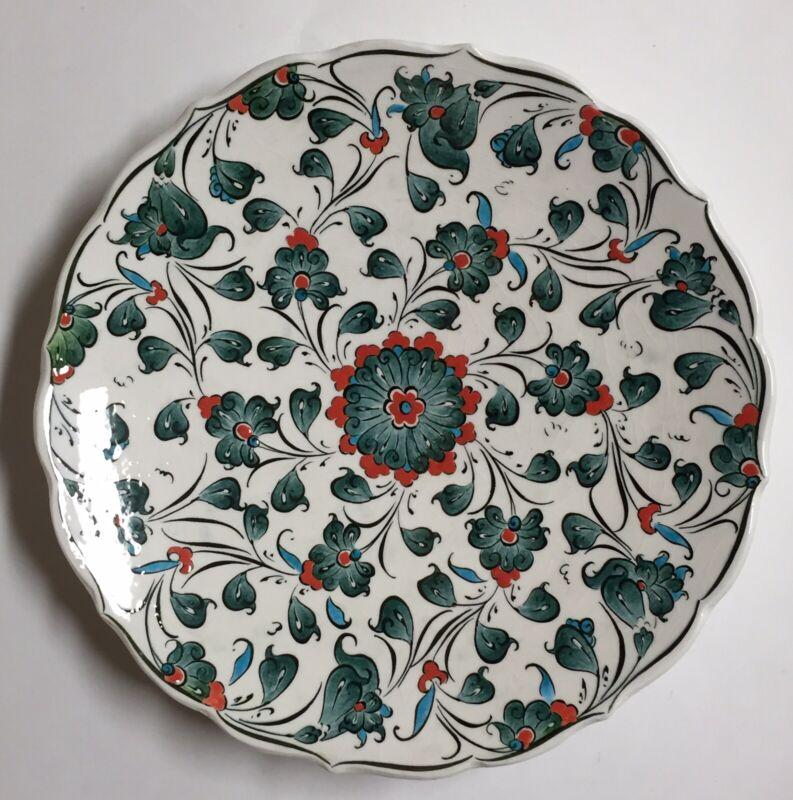 Kutahya Marmara Cini Turkish Floral Decorative Plate Hand Painted 9.75