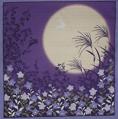 Japanese Cotton Fabric Furoshiki 'Rabbits Jumping in the Moonlight' 50cm