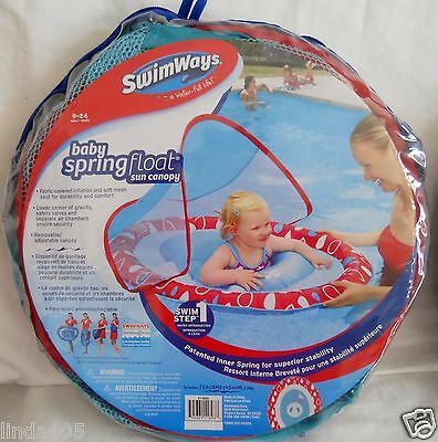 SWIMWAYS SWIM STEP 1 BABY SPRING FLOAT SUN CANOPY AGES 9-24 MOS BLUE RED INFANT