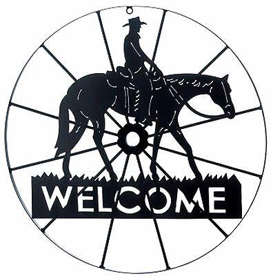 SOUTHWESTERN COWBOY WAGON WHEEL HORSE & COWBOY