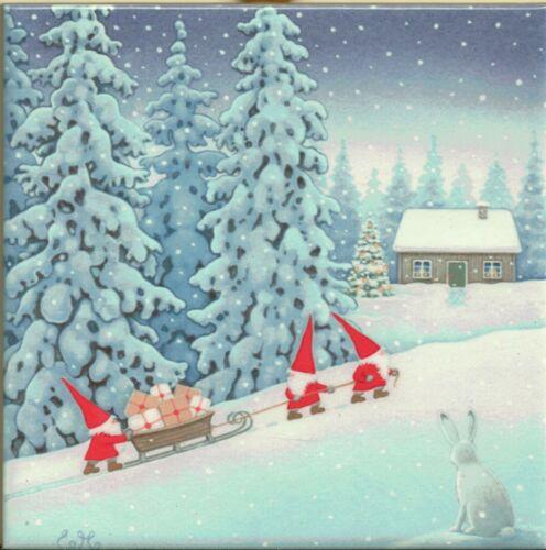 "Swedish Trivet Tile ""Tomte Elves at Dawn"" Eva Melhuish 6""x 6""  Cork Back"