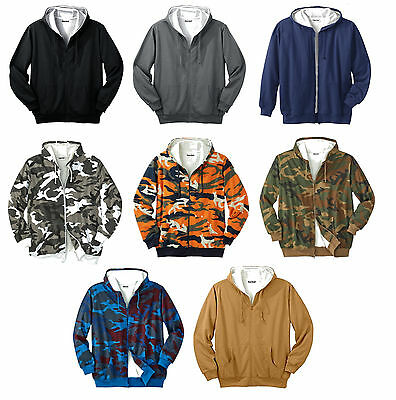 Big Mens Thermal Lined Cotton Fleece Full Zipper Hood Sweatshirt Hoodie Pockets