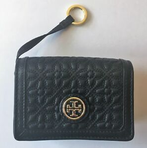 TORY BURCH Bryant Foldable Card Case Mini Wallet ~ Black Quilted Leather ~ NWT