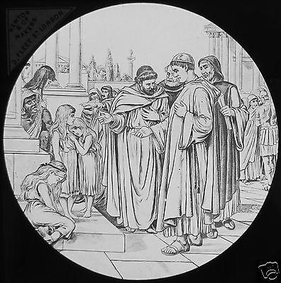 Glass Magic Lantern Slide GROUP OF PRIESTS C1890 RELIGION