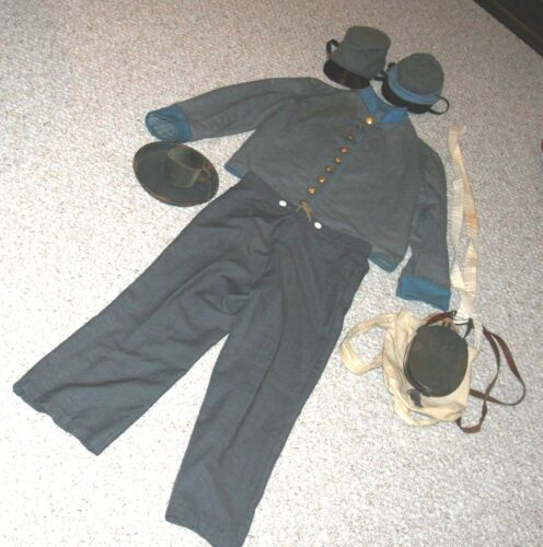 Civil War Reenactment Reproduction Uniform, Jacket, Pants, Canteen, Cup, Plate,+