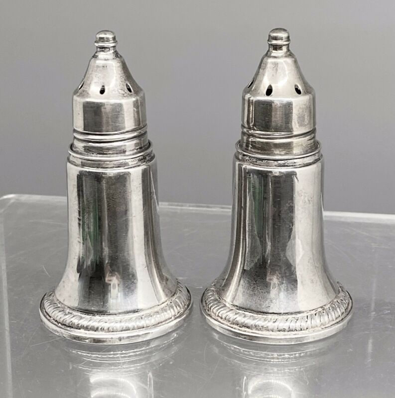 Pair Vintage Reed & Barton Sterling Silver Weighted Salt & Pepper Glass Inserts