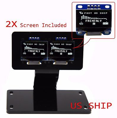 "2X 0.96"" I2C IIC Serial 128X64 LED OLED LCD  Display & Stand Mount For Arduino"