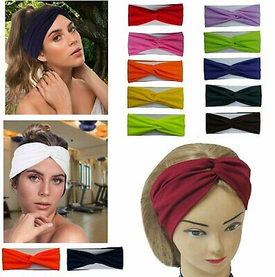 Twisted Hair Wrap Yoga Headband Stretchable Turban Hairband Fashion Solid Color Clothing, Shoes & Accessories