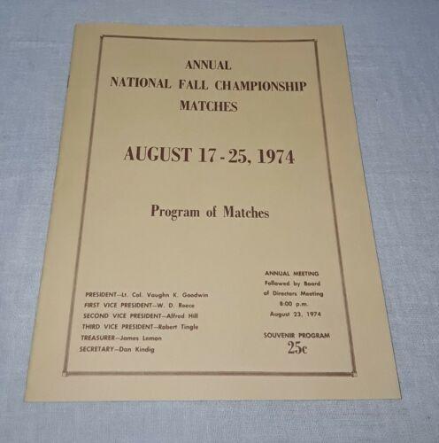 1974 NMLRA WALTER CLINE RANGE NATIONAL FALL CHAMPIONSHIP MATCHES PROGRAM