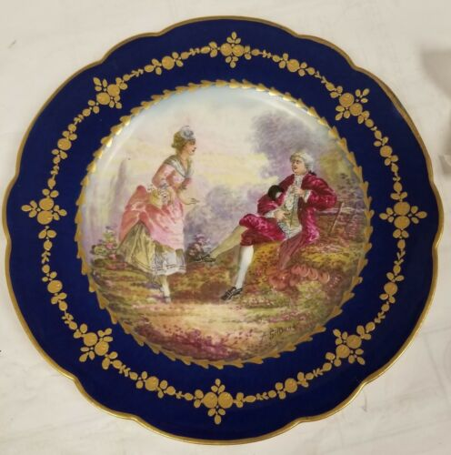 Antique French Sevres porcelain marked romantic Victorian scene plate signed