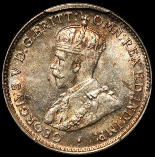 1921-M Australia 3 Three Pence Silver Coin - PCGS MS 63 - KM# 24 - RARE Key Date