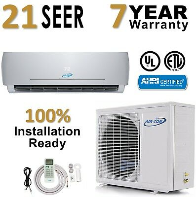 12000 BTU 21 SEER Ductless Mini Split Air Conditioner Heat Pump AirCon 1 Ton AC