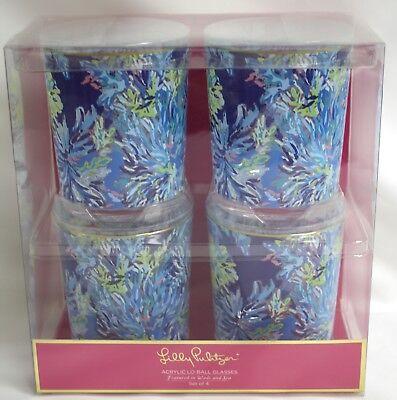 NIB Lilly Pulitzer Set Of 4 Lo-ball Acrylic Glasses Wade And Sea 171701