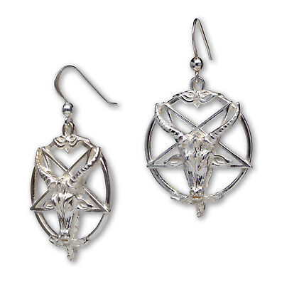 Sterling Silver Baphomet Goat Head Satanic Earrings with Fish Hook Wires SS679