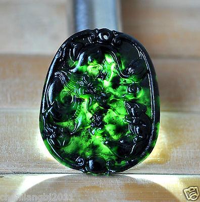 Купить Hand-Carved  Chinese Dark Green Natural Nephrite Dragon pendant