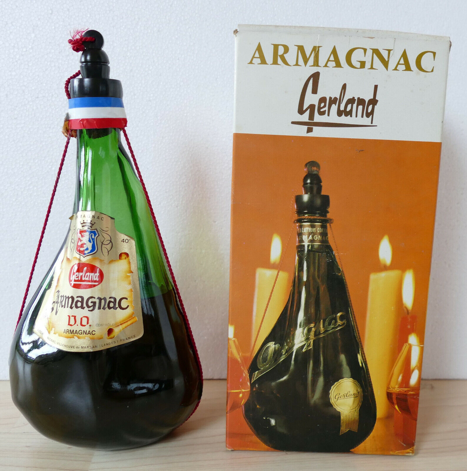 Sehr alte Flasche Armagnac Gerland, 40%, 0,7 l, im Originalkarton, orig. franz.