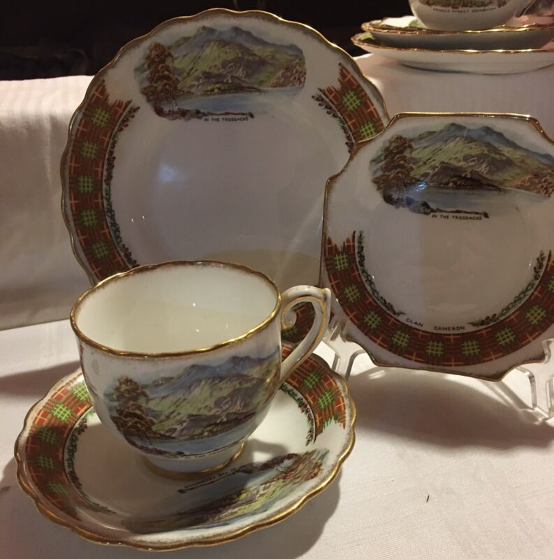 "England, ""In the Trossachs"" Cameron Clan, Cup, Saucer, Plate and tray Ex. Cond."
