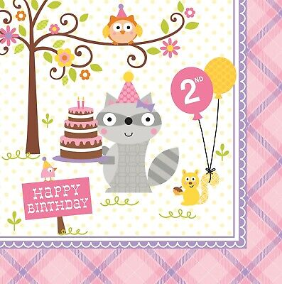 2nd Birthday Woodland Pink Lunch Napkins Party Raccoon Decoration Favor Supplies (Woodland Birthday Party Supplies)