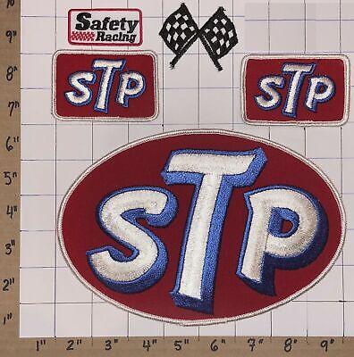 5 VINTAGE HUGE STP GAS & MOTOR OIL FUEL CLEANING SYSTEM CREST EMBLEM PATCH