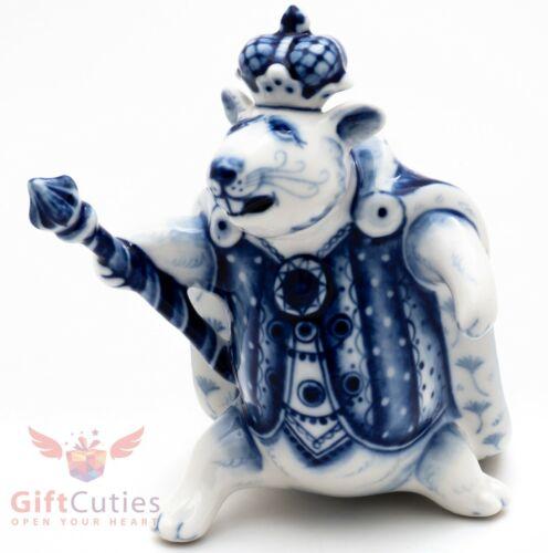 Gzhel porcelain figurine of Mouse Mice Rat King from The Nutcracker souvenir