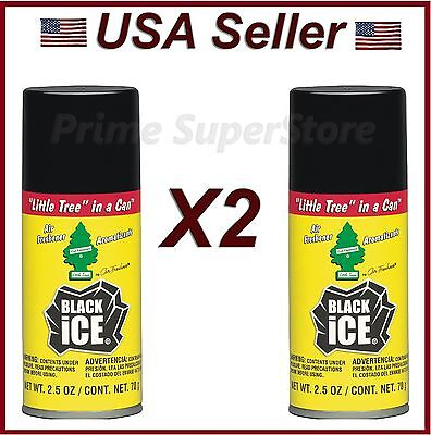 Little Trees In Can Air Freshener 2 Pack Black Ice Scent Car Home & Office Spray